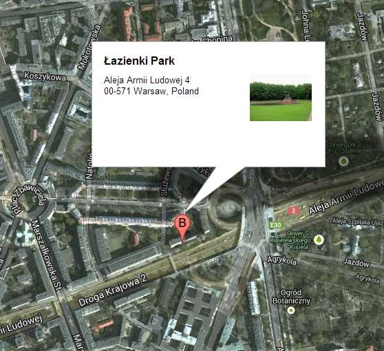 Map of Łazienki Park